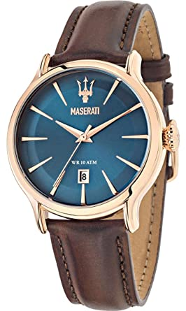 MASERATI EPOCA Collection - R8851118001 - Reloj de caballero analógico (Acero inoxidable, Piel, Sumergible) Esfera azul: Amazon.es: Relojes