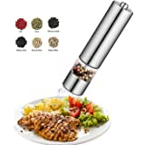 Pepper Grinder Stainless Steel Salt Mill,Battery Powered Steel Electric Spice Shaker with LED Light,Adjustable Ceramic Grinder