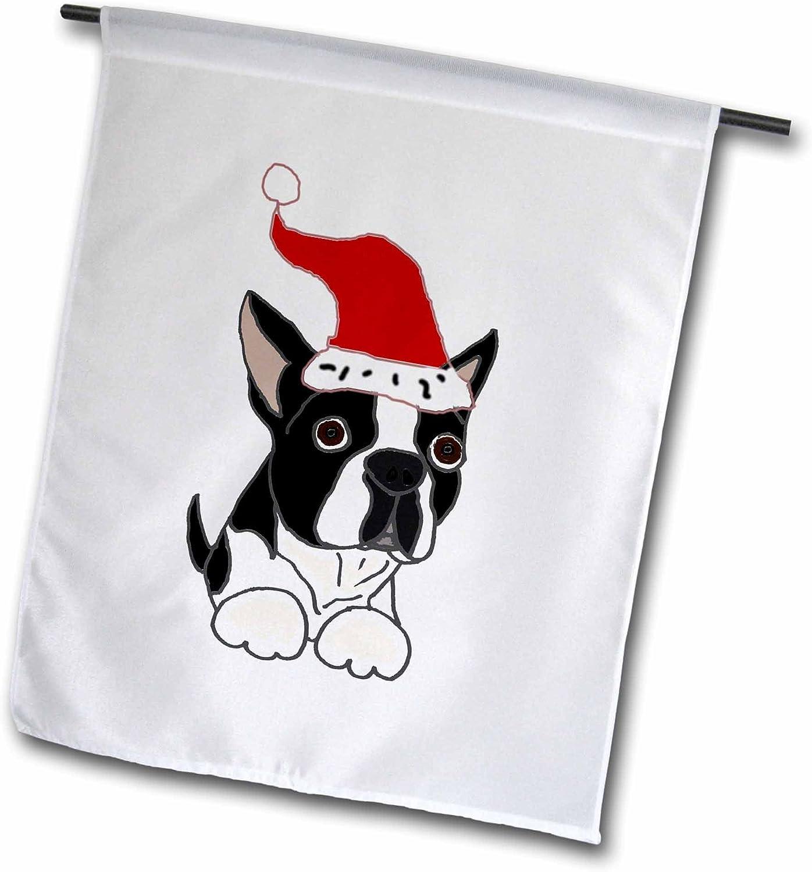 """3dRose fl_220479_1""""Funny Christmas Boston Terrier Dog in Santa Hat Garden Flag, 12 x 18"""