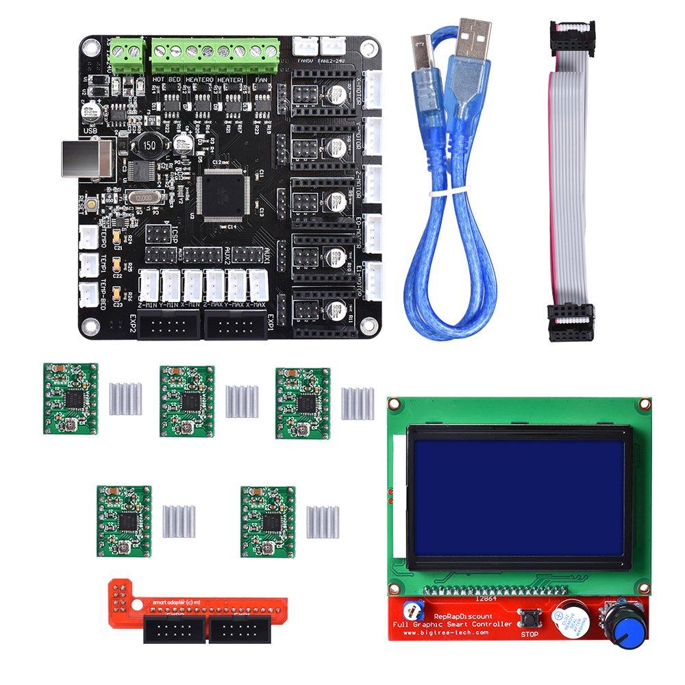 BIQU KFB3.0 3D Control Board +LCD 12864 Module Display Monitor Motherboard + A4988 Stepstick Stepper Motor Driver Module for Reparp Mendel Prusa I3 Kossel 3D Printer