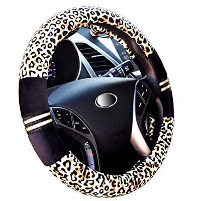 """Steering Wheel Cover 15"""" Fluffy Leopard Yellow Universal: Automotive"""