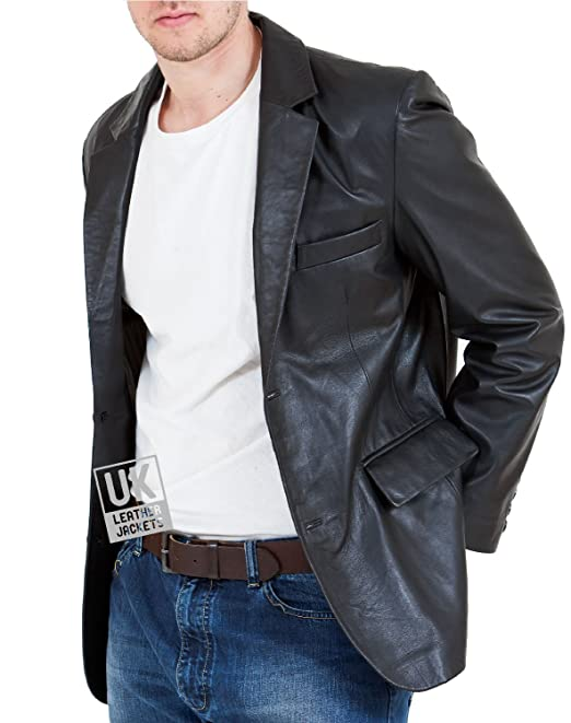 88e411b3f7d Mens Black Leather Blazer - Double Vented - High Grade Superior Soft  Quality  Amazon.co.uk  Clothing