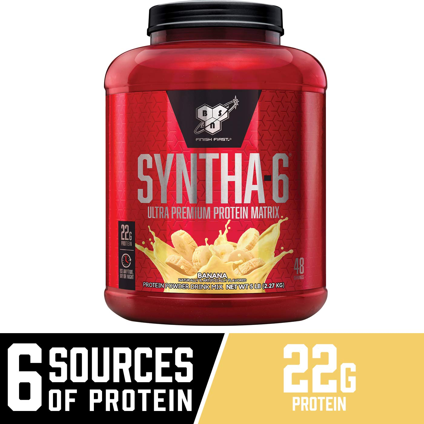 BSN SYNTHA-6 Whey Protein Powder, Micellar Casein, Milk Protein Isolate Powder, Banana, 48 Servings (Package May Vary) by BSN