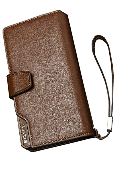 aaad4f1435 Unomatch Men's 3 folds Large Section Wallet Brown (One Size, Brown ...