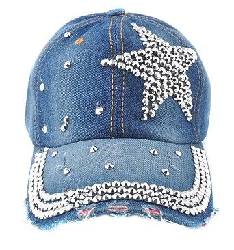 a445a99d13a Elonmo Cute Silver Big Star Baseball Cap Jewel Rhinestone Bling Hats Jeans  Wash Denim(Blue) (Blue) at Amazon Women s Clothing store