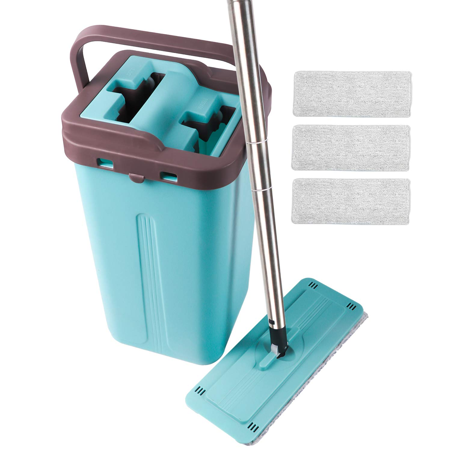 Squeeze Flat Mop, 1 Bucket, Wet Dry Floor Cleaning Hand Free, 3 Reusable Microfiber Mop Pads for Home Kitchen Floor Cleaning, Stainless Steel Handle