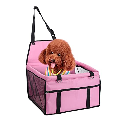 Aolvo Dog Booster Seat Comfortable Pet Car Console Folding For Small Medium