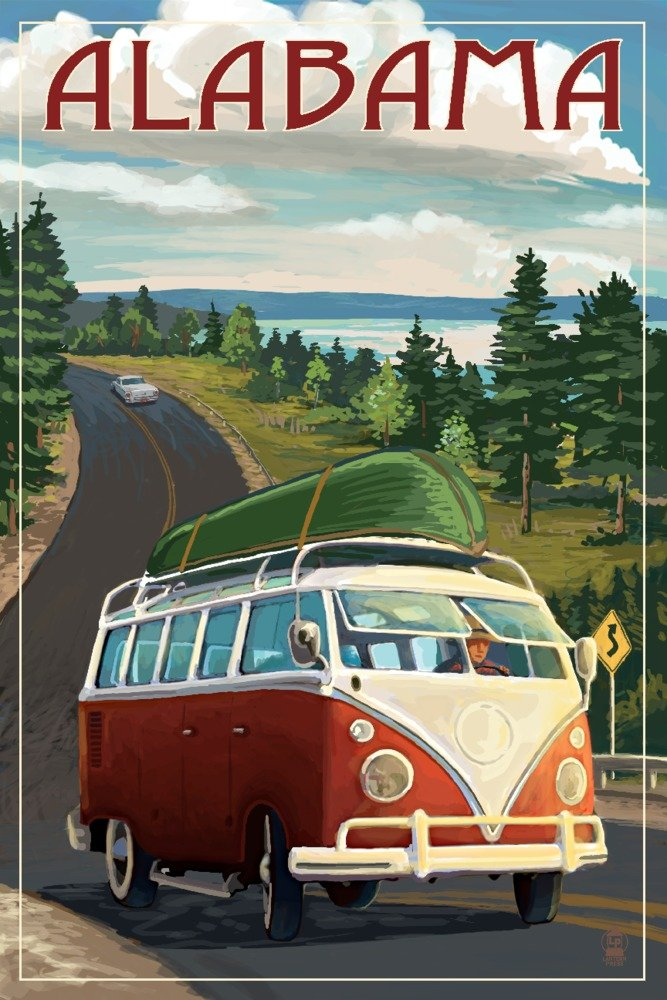Alabama - Camper Van and Lake (36x54 Giclee Gallery Print, Wall Decor Travel Poster)