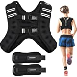 PACEARTH Weighted Vest with Ankle/Wrist Weights 6/12/16lbs Adjustable Body Weight Vest with Reflective Stripe Workout Equipme