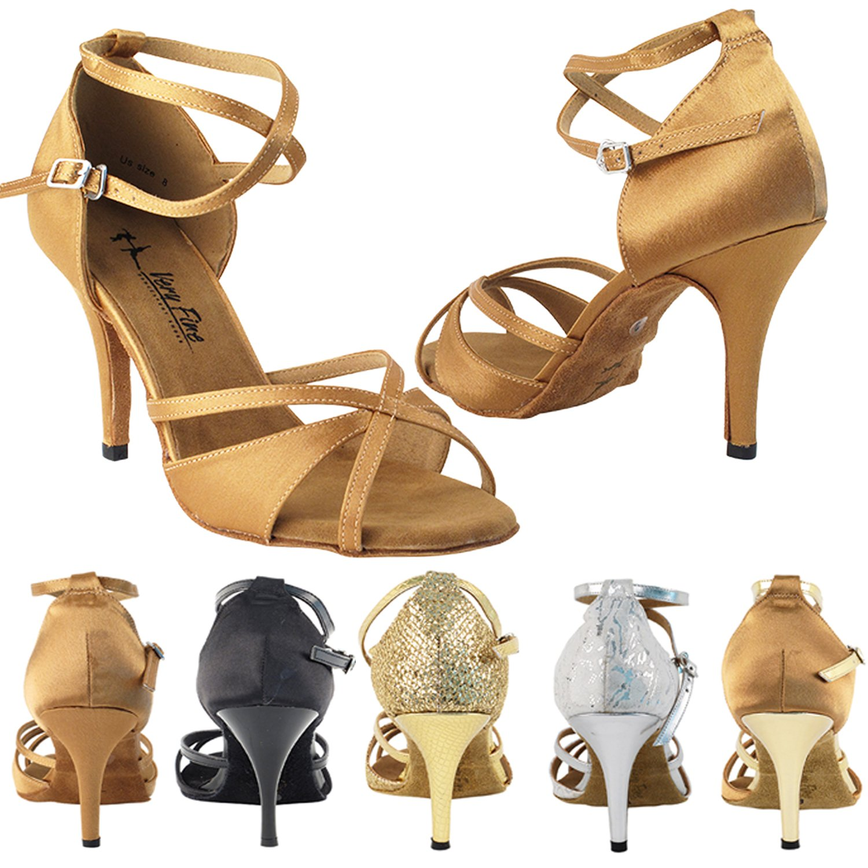 3.5 Stiletto Heel Size 8 GP 50 ShadeS Dance Dress Shoes 2829LEDSS White /& Silver