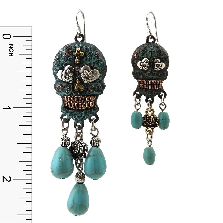 Oorbellen Modesieraden Turquoise Stone Dangling Sugar Skull