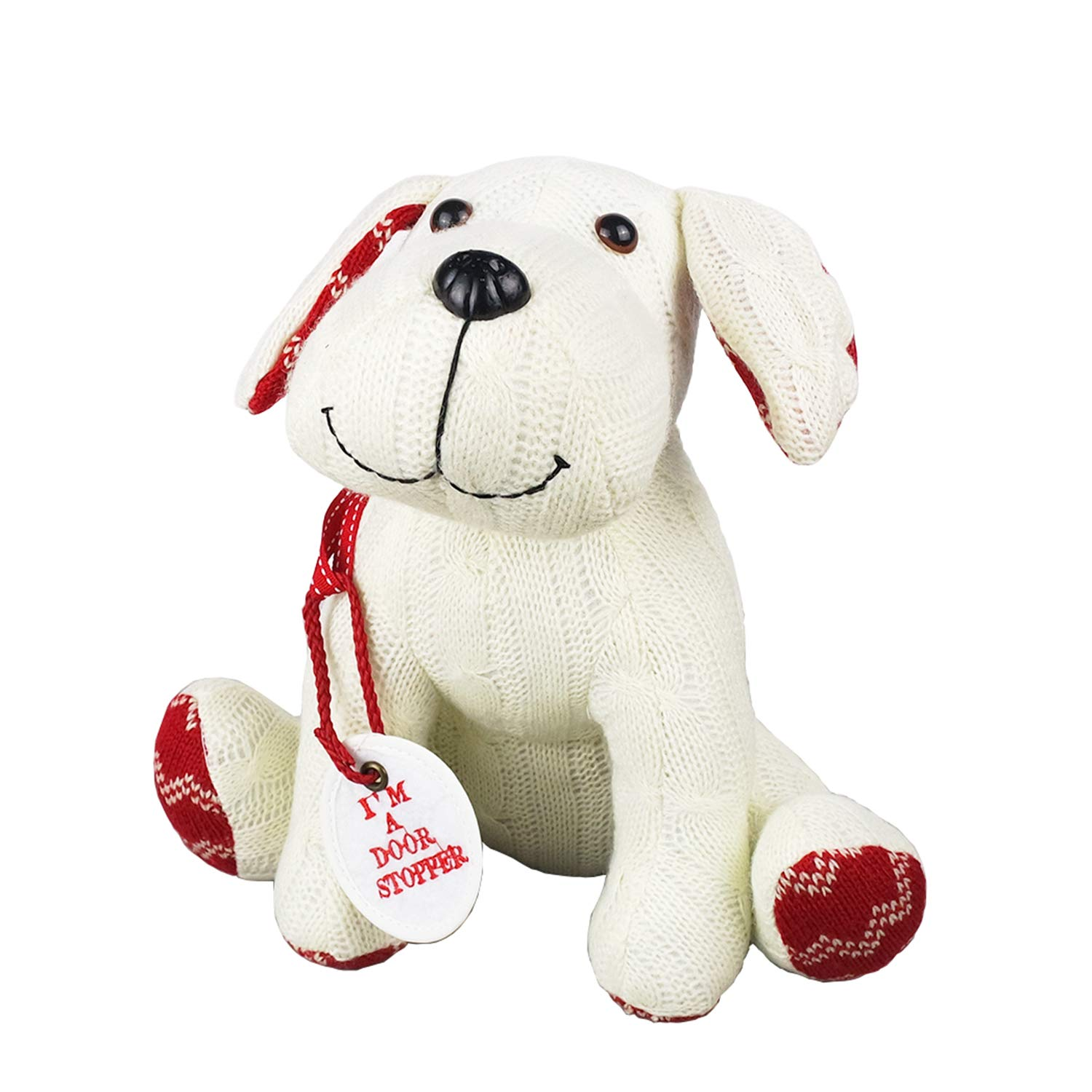 Stuffed Animal White Dog Door Stopper 1.73lb Home Decor Cable Knit Pattern