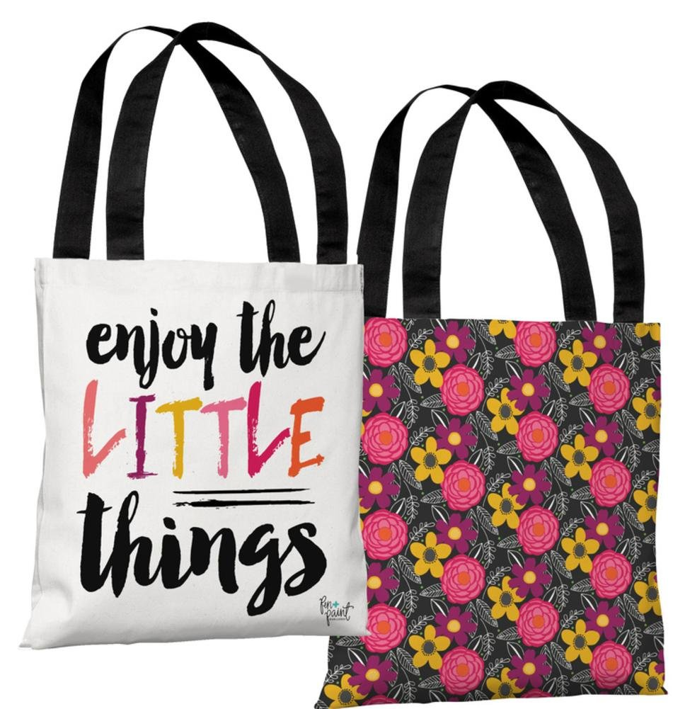 One Bella Casa 74248TT18P 18 in Enjoy the Little Things Polyester Tote Bag by Pen /& Paint44; Multi Color