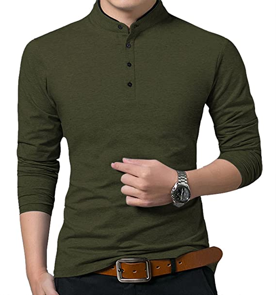 well known speical offer new concept YTD Men's Casual Slim Fit Pure Color Long Sleeve Polo Fashion T-Shirts