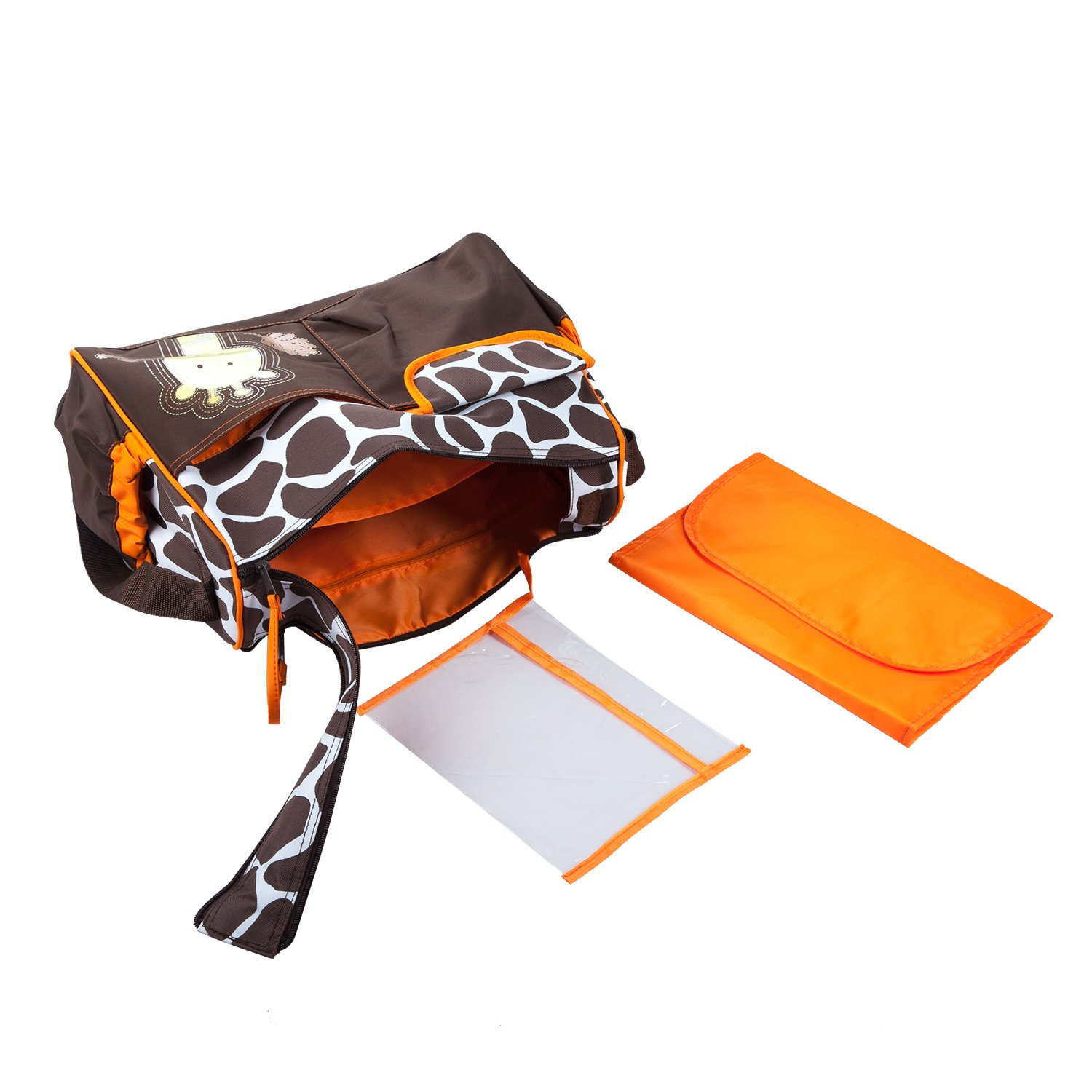 TRIXES Giraffe Baby Changing Bag Including Changing Mat and Clear Accessory Bag