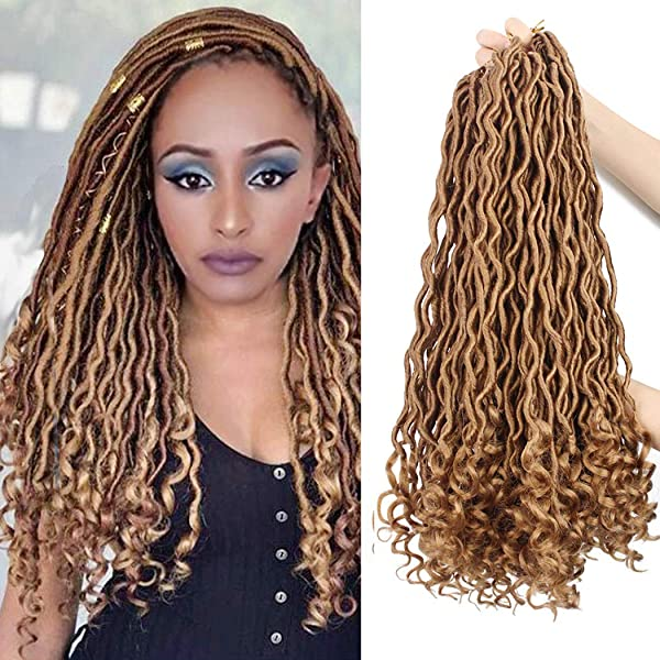Amazon Com Dorsanee Curly Faux Locs Crochet Hair Deep Wave Goddess Loc Crochet Braiding Hair Synthetic Braids Hair Extension 18 Inch New Fashion Soft Blonde Hair Style 6packs 27 Beauty