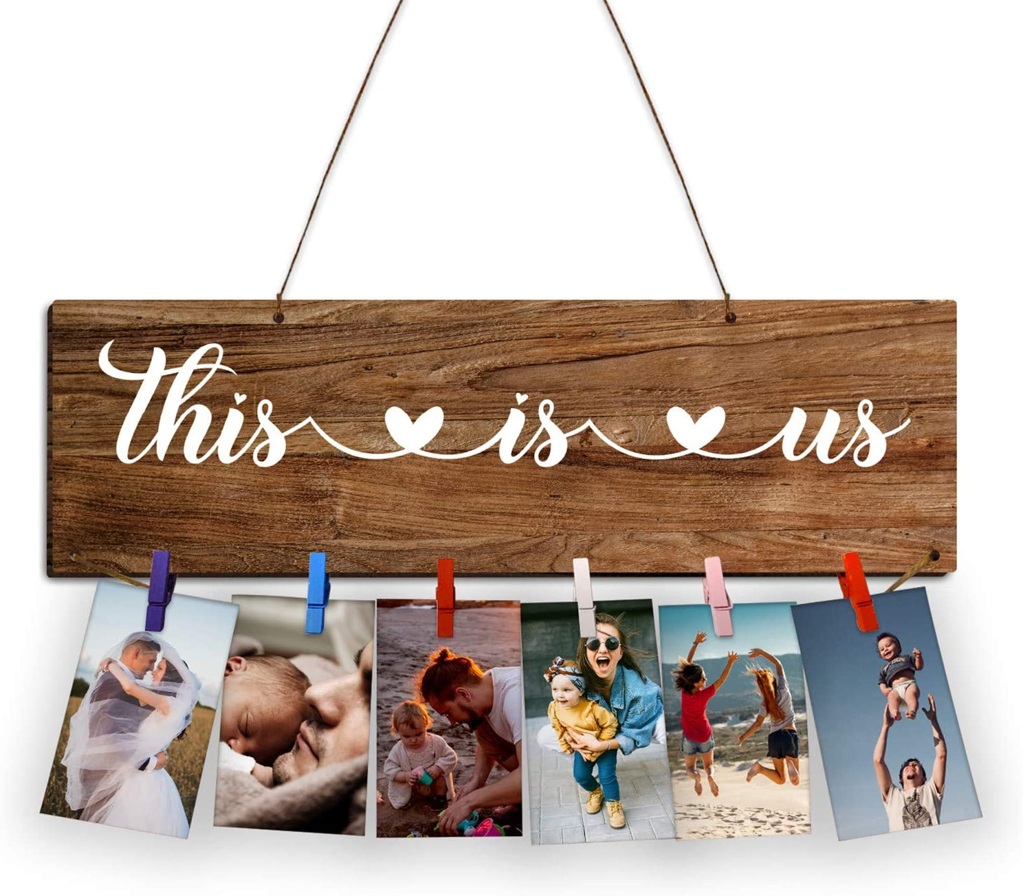 Zhuper This is Us Sign Home Decor This is Us Family Photo Display Board Farmhouse Wooden Photo Holder Picture Hanging Frame Sign Wall Decor Christmas Grandma Mother Birthday Gift Housewarming Gift
