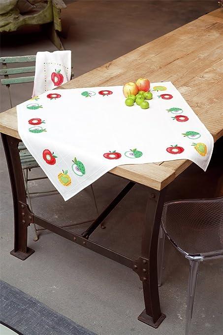 Vervaco - Mantel de Colores Manzanas - Juego de Punto de Cruz con Recubrimiento de Tela, Hilo, Aguja e Instrucciones.: Amazon.es: Hogar