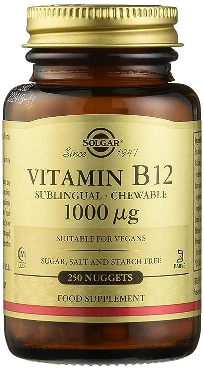 Solgar Comprimidos Masticables Sublinguales Vitamina B 12 1.000 mcg, Equilibrio psicológico, Reduce el Cansancio, Sabor Cereza Natural, Apto para ...