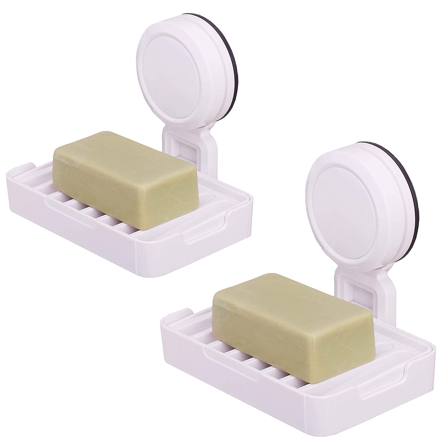 OKOMATCH Super Suction Cup Soap Dish Holder Wall Mounted ABS Plastic Double Layer Sponge Tray For Bathroom & Kitchen - Detachable,Rectangular,White(1pcs/pack)