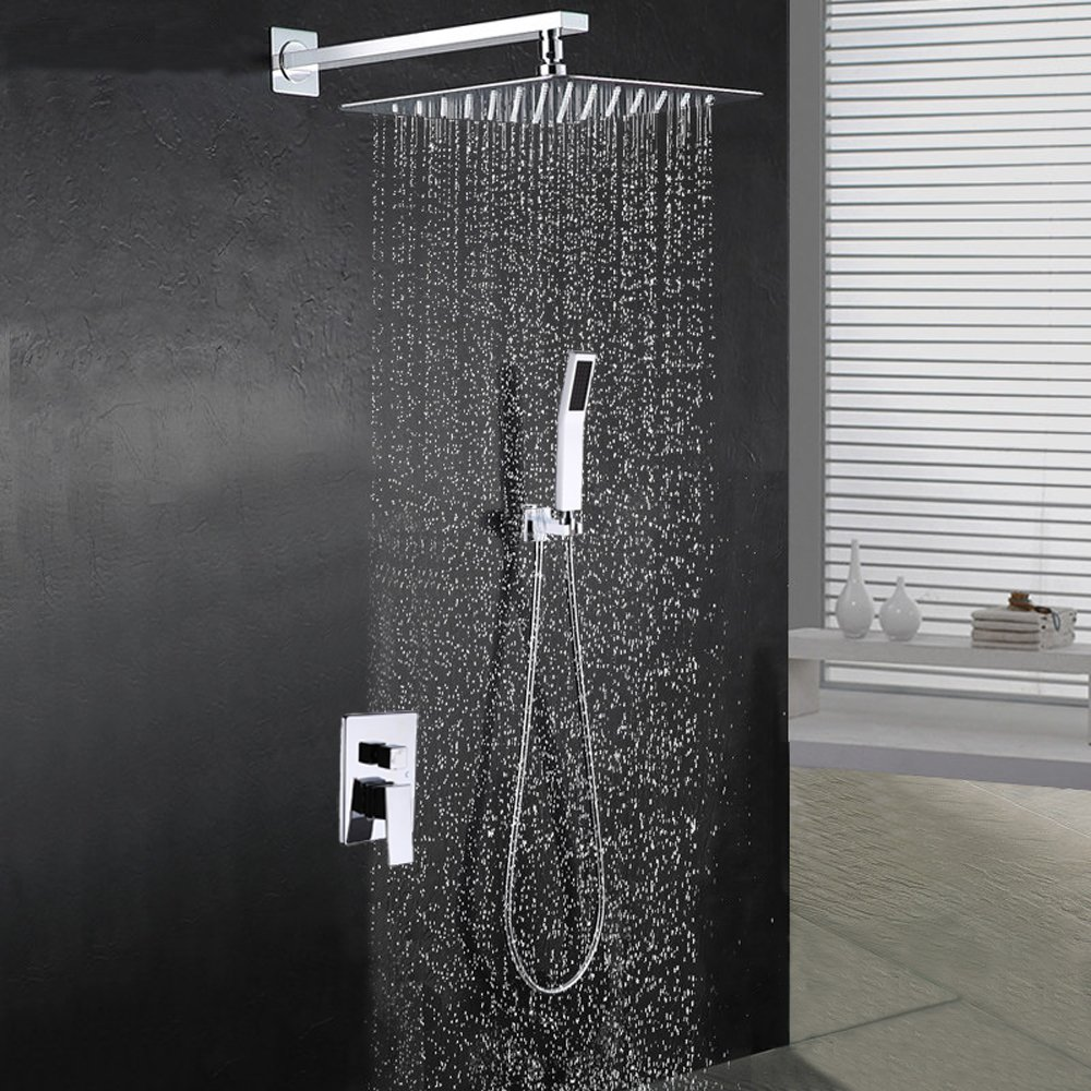 "BOHARERS Bathroom 10"" Rainfall Shower Head with Handheld - Wall Mount Stainless Steel Multi-Function Rain Mixer Shower Combo, Polished Chrome"