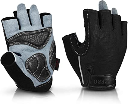Cycling Bike Thick Pad Half Finger Gloves Sports Short Shockproof Mitts Black