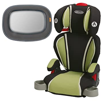 Graco Highback TurboBooster Booster Car Seat Go Green With Baby In Sight Mirror