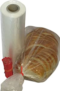 Plastic bread and Grocery Clear Bag on Roll 12x20 1 Roll/cs appx. 350 bags- with Free Twist Ties