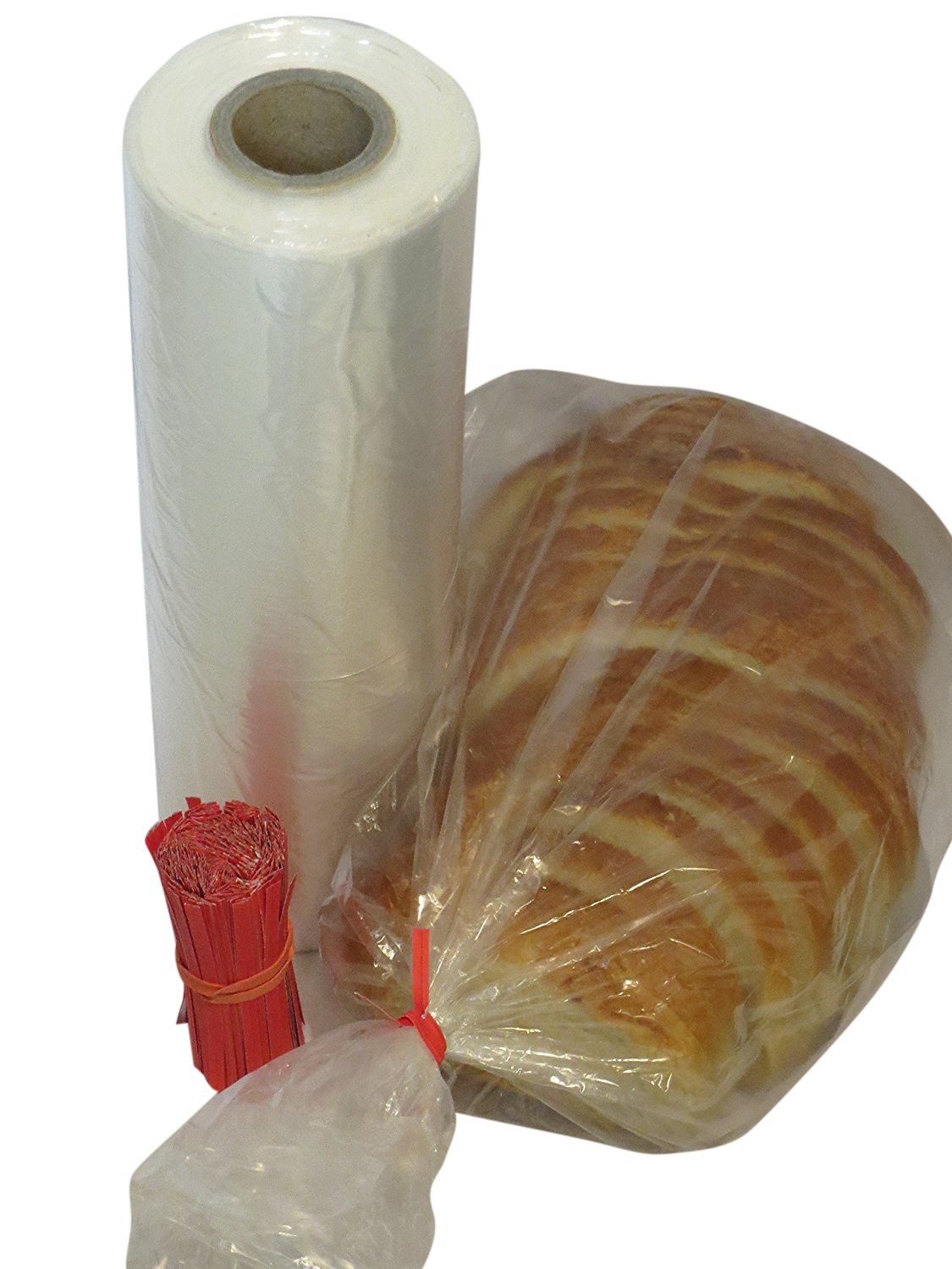 SANROSE Plastic bread and Grocery Clear Bag on Roll 12x20 1 Roll/cs appx. 350 bags- with Free Twist Ties