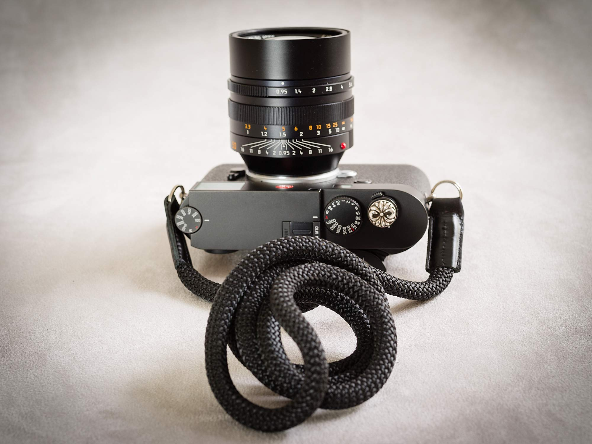 Rock & Roll Black Snake Luxury Soft Climbing Rope Camera Strap 50'' inches Long by Rock and Roll for Leica Sony Fuji Olympus Nikon