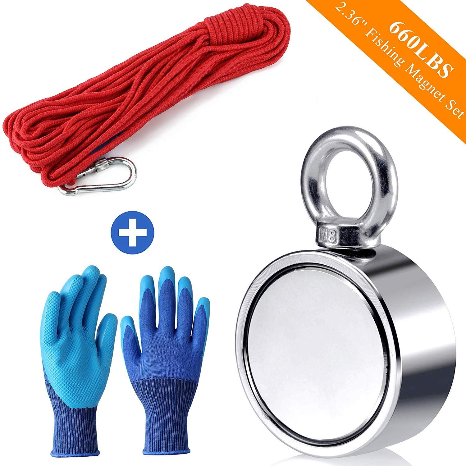 Fishing Magnet with Rope Glove Set, 660LB Pulling Force Super Strong Neodymium Magnet with 32 ft Nylon Rope & Carabiner for Magnet Fishing and Retrieving in River - 60mm Diameter by seedoo