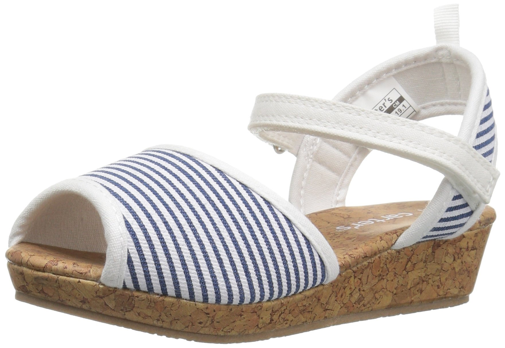 Carter's Madison Girl's Wedge, Blue/White, 3 M US Little Kid