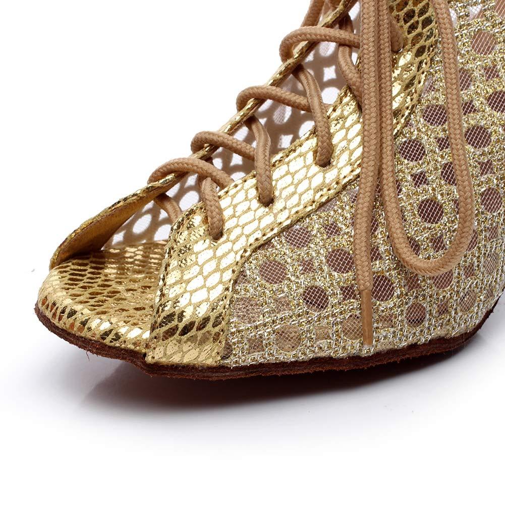XIAOY Weibliche Ballroom Latein Tanzschuhe Riemchen Peep Toe High Heel Heel Heel Weiche Untere Schuhe  66a9d4