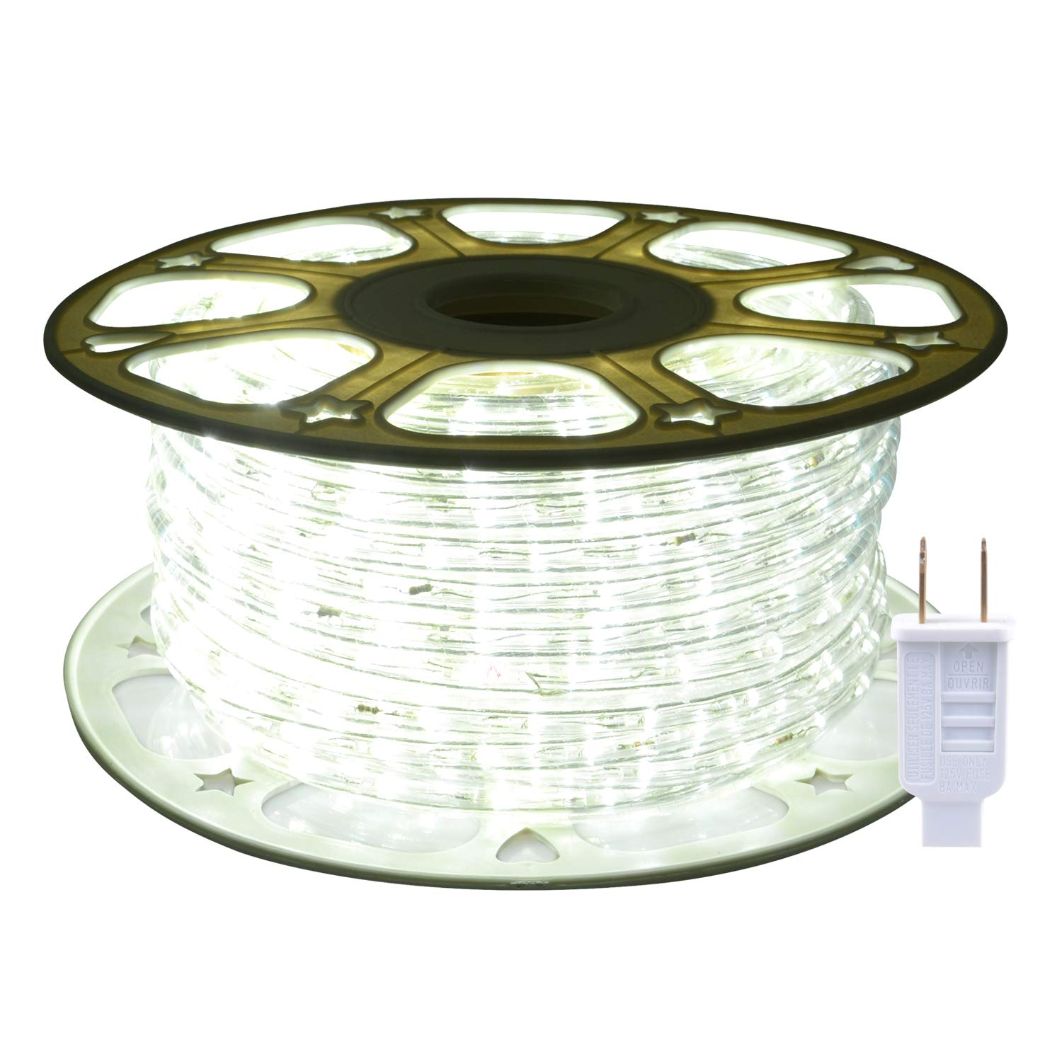 ollrieu LED Rope Lights Waterproof,Flexible 98.4ft Outdoor/Indoor Lights Strip Daylight White 6000K,720 LEDs 110V UL Power Plug,Connectable Decoration LED Rope for Patio Room Party Camping