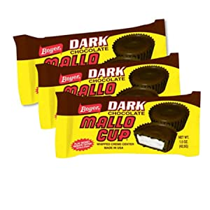 Dark Chocolate Mallo Cup with Whipped Marshmallow Creme Center Christmas Stocking Stuffer Pack, Set of 3