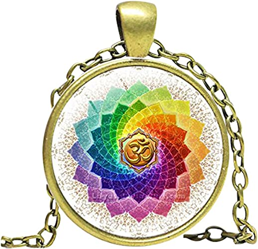 Necklace Lotus Pendant Mandala Glass Buddhism Silver Chain Meditation