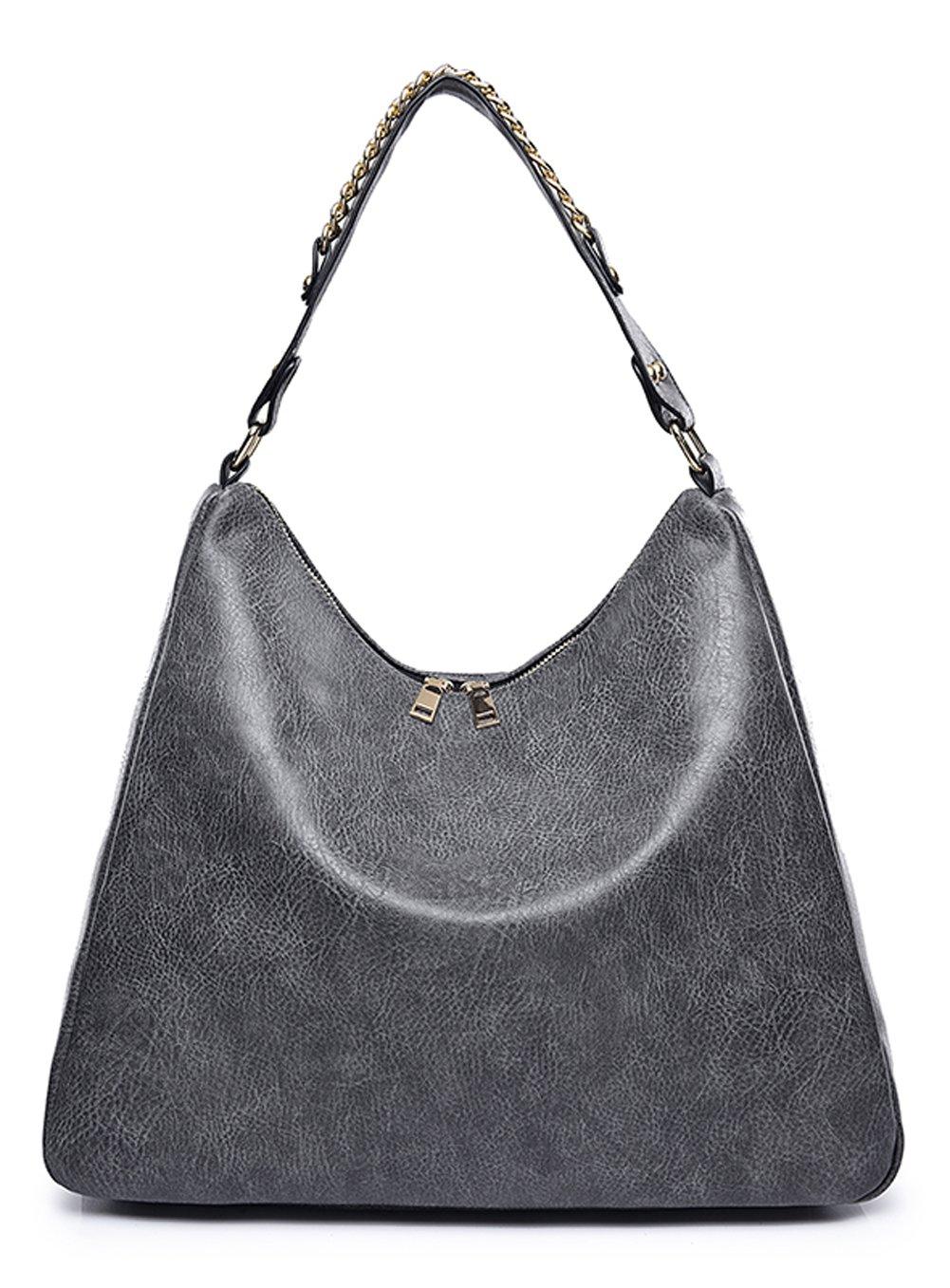 Covelin Women's Soft Leather Handbag Hobo Purse Large Capacity Tote Shoulder Bag Grey