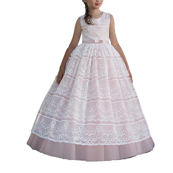 Vestido Comunion Niña Regalos Primera Trajes Vestido Flores Vestidos Para Fiesta (Blanco, 10)
