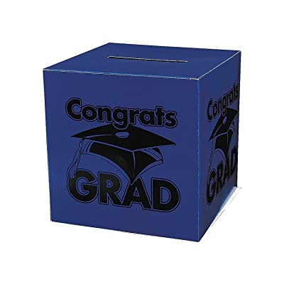 Fun Express - Congrats Grad Blue Card Box for Graduation - Party Supplies - Containers & Boxes - Paper Boxes - Graduation - 1 Piece: Toys & Games
