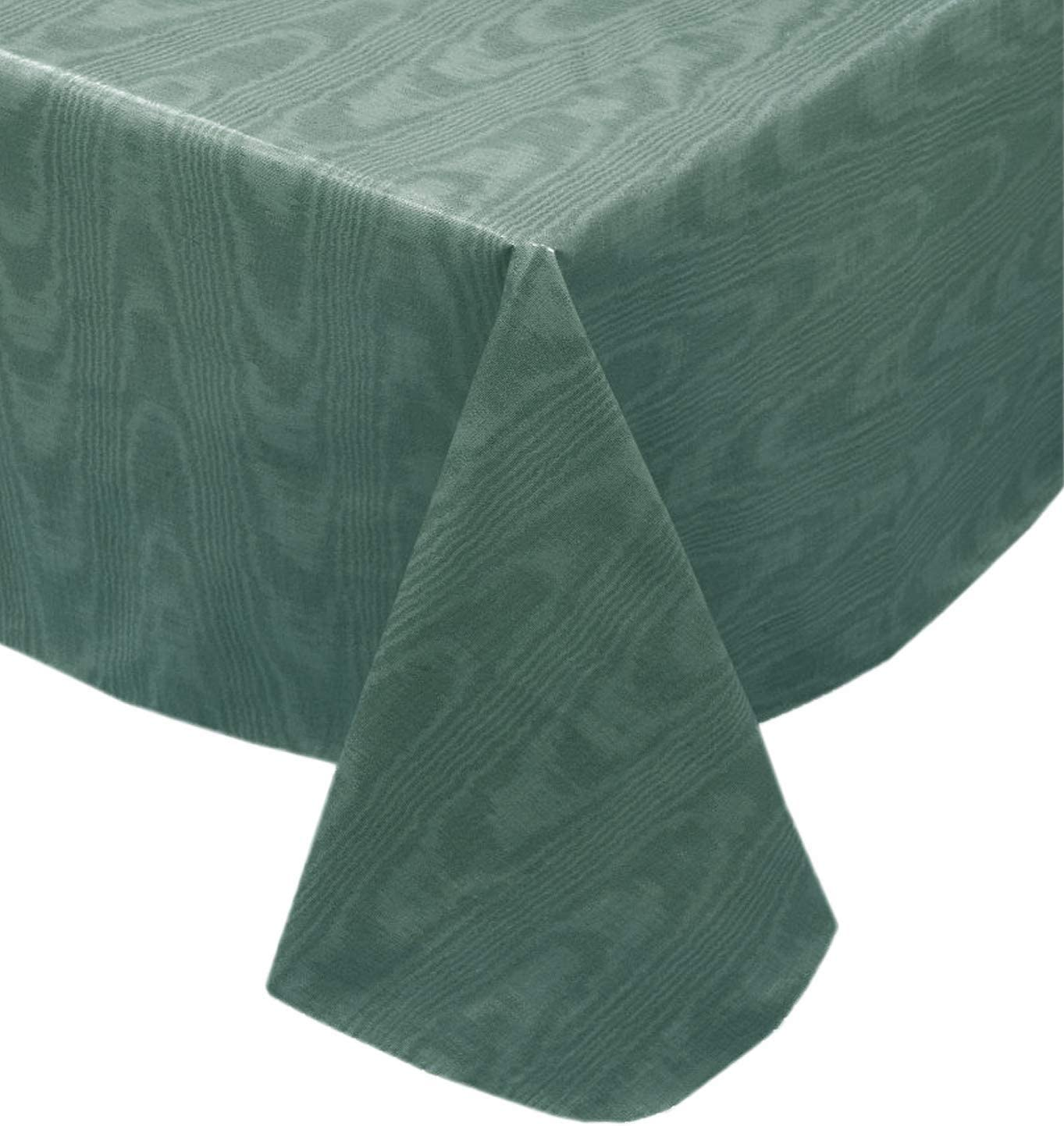 Newbridge Hunter Green Moire Wavy Solid Color Print Heavy Gauge Vinyl Flannel Backed Tablecloth, Hotel Quality Heavyweight Wipe Clean Tablecloth, (52 Inch x 70 Inch Oblong/Rectangle)