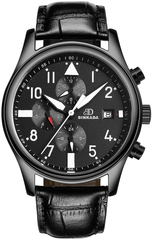BINKADA人気自動機械ブラックダイヤルメンズ腕時計# 7001h02 – 1 B01DZMF6SA