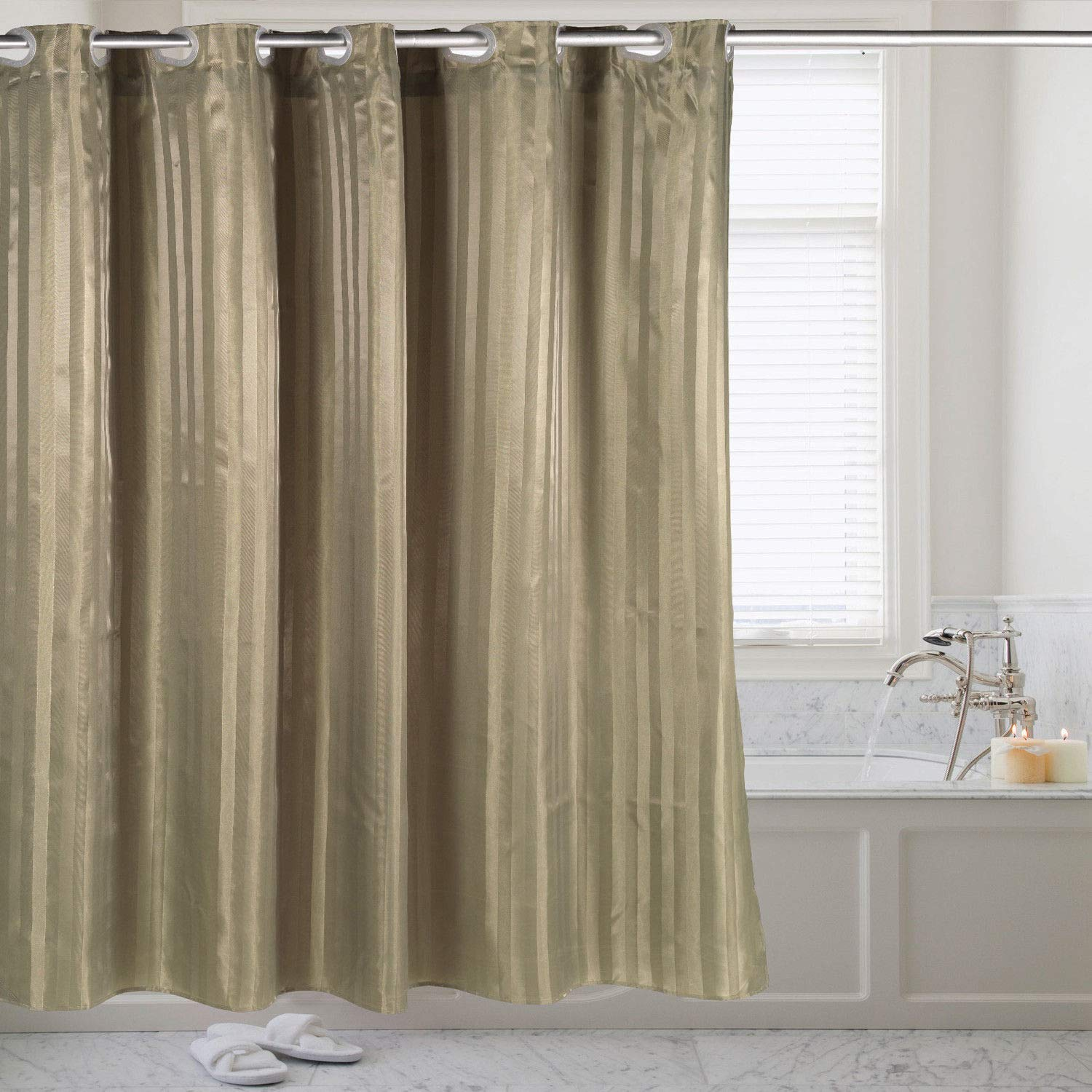 DN_LIN New Hookless Fabric Dobby Stripe Shower Curtain with Snap Off Liner 70''x75'' - Sage.
