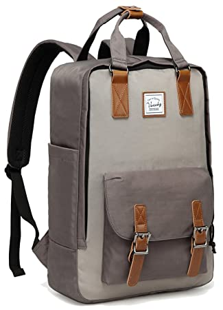 Amazon.com: School Backpack,VASCHY Unisex Vintage Water Resistant 15in Laptop Backpack Bookbag for College Gray: VaschyDirect