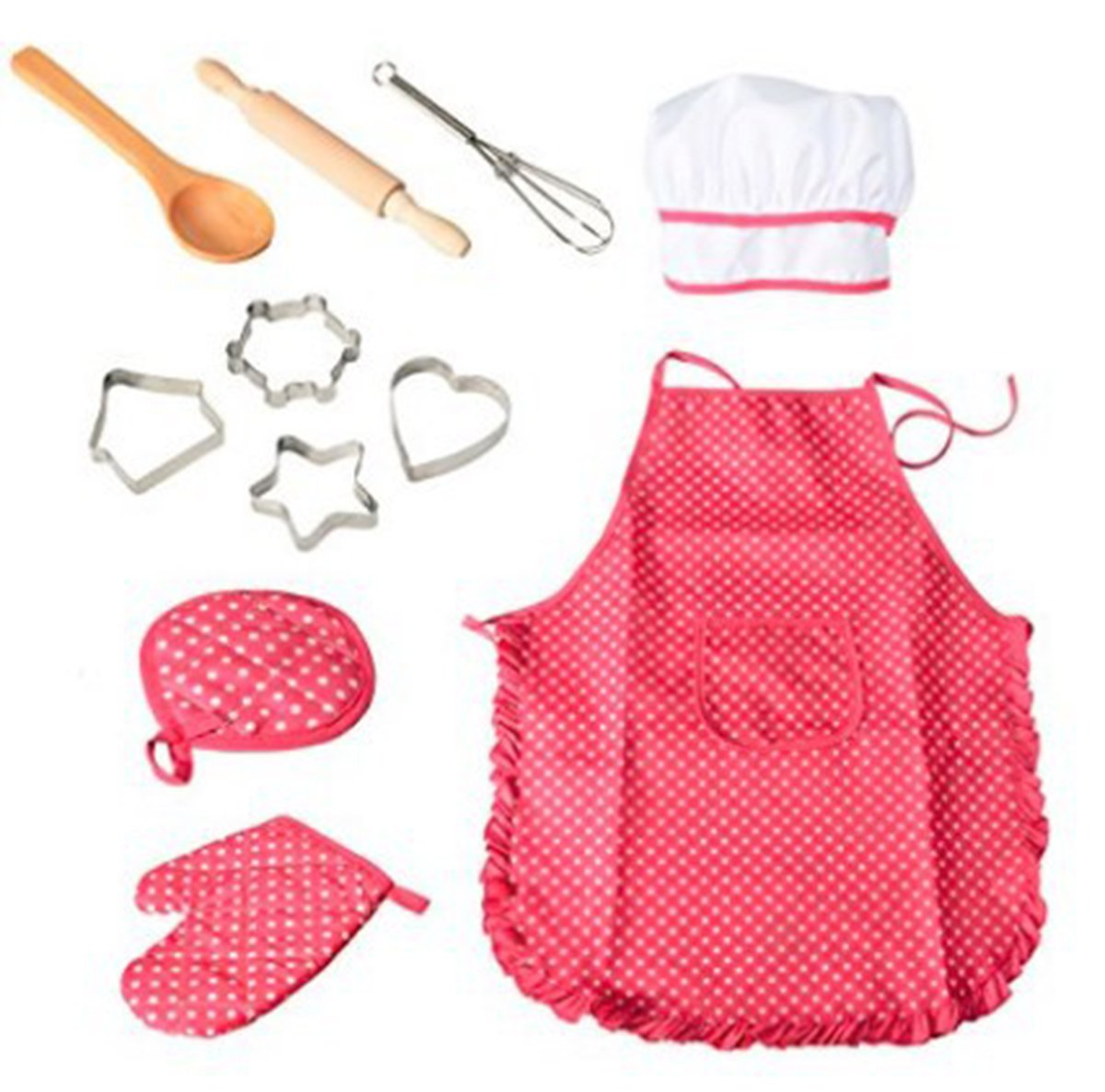 11 Pcs Kids Cooking and Baking Set Chef Set for Kids Kitchen Cooking Play Set with Apron for Girls, Chef Hat, and Cooking Mitt & Utensils for Toddler Career Role Play Children Pretend Play Seilent
