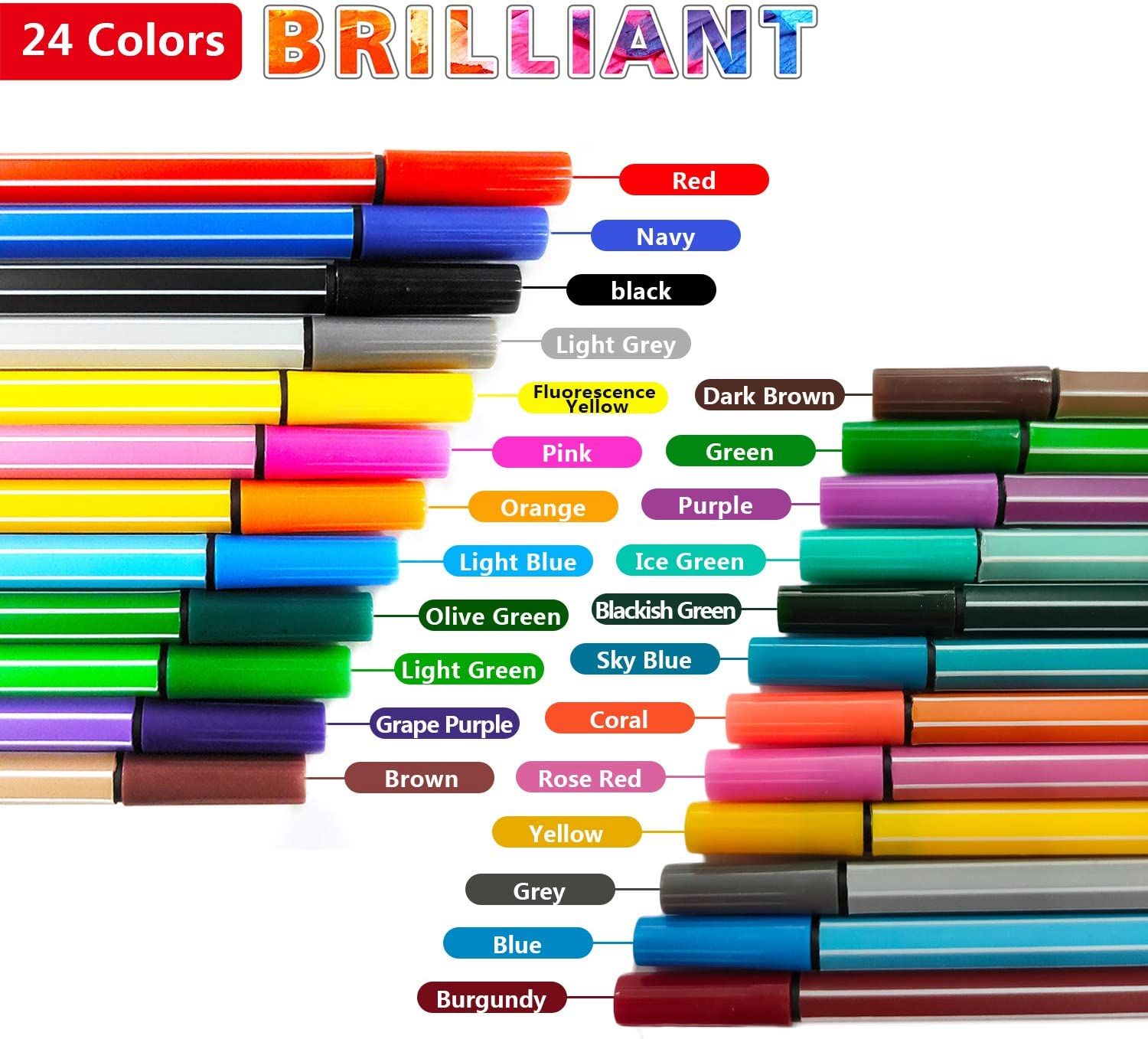 Fine-Liner Pens 10 Colors Journal Planner Pens for Drawing and Writing Fine Point Markers