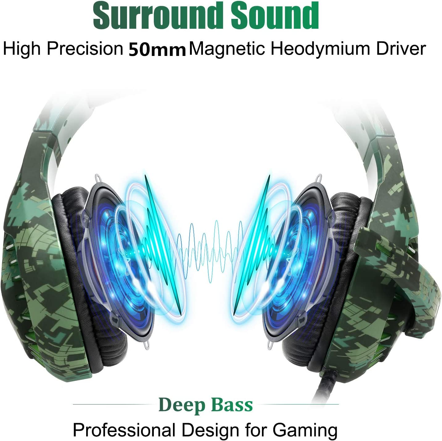 Butfulake Noise Cancelling Xbox one Gaming Headset with 7.1 Surround Sound Stereo for PS4/Nintendo eShop Switch,Omnidirectional Microphone Vibration LED Light Compatible with Mac/PC/Laptop/Mac Camo
