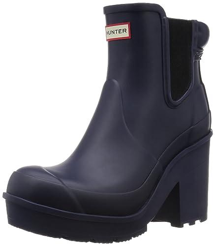 Hunter Womens Original Block Heel Chelsea Snow Waterproof Ankle Boots   Midnight  3