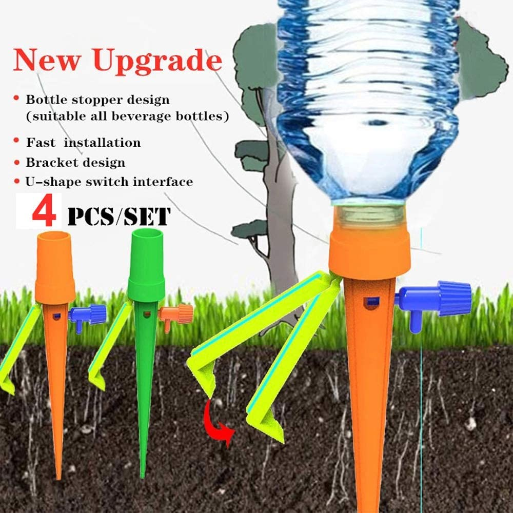 MZY1188 4 Pcs Plant Waterers-Automatic Plant Watering Spikes,Automatic Watering Irrigation with Slow Release Control Valve Switch Garden Plant Flower Bracket Drip Sprinkler