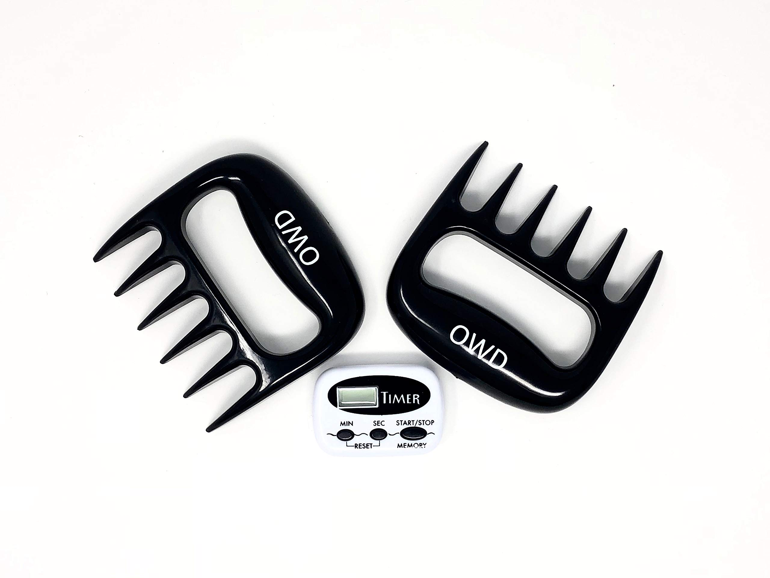 Owd Claws Premium Meat Shredder Claws BBQ, Smoker, Kitchen Use – Meat Handlers Pork, Poultry, Beef & Hams – Quality Nylon Coating Is Heat Resistant (Meat Claws + Timer)