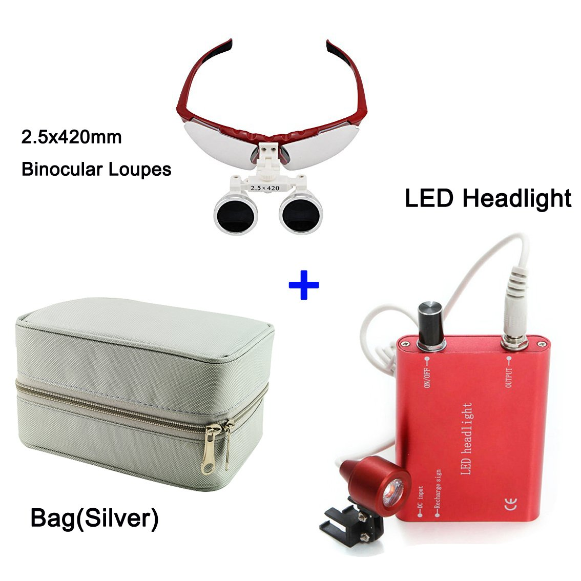 Zinnor 2.5 X 420mm Dental Surgical Medical Binocular Loupes Optical Glass Loupe + LED Head Light Lamp + Carry Bag (Silver)